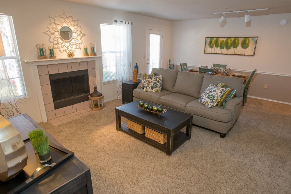 Bright living room at Crown Pointe Apartments in Oklahoma City, Oklahoma