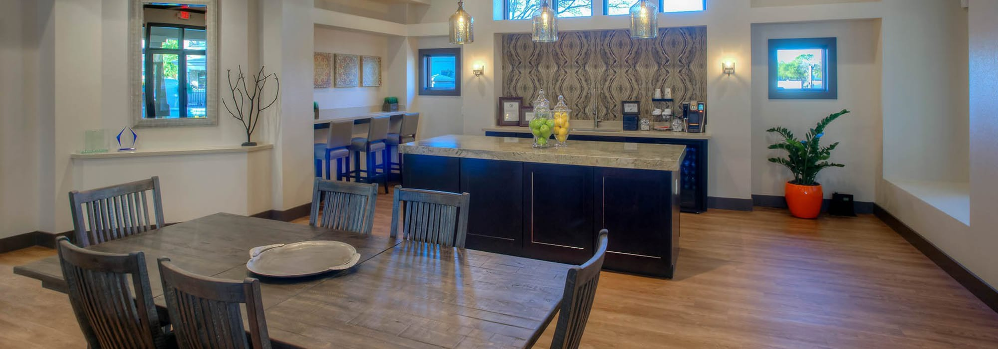 Spacious clubhouse to entertain friends and family at The Reserve at Gilbert Towne Centre in Gilbert, Arizona