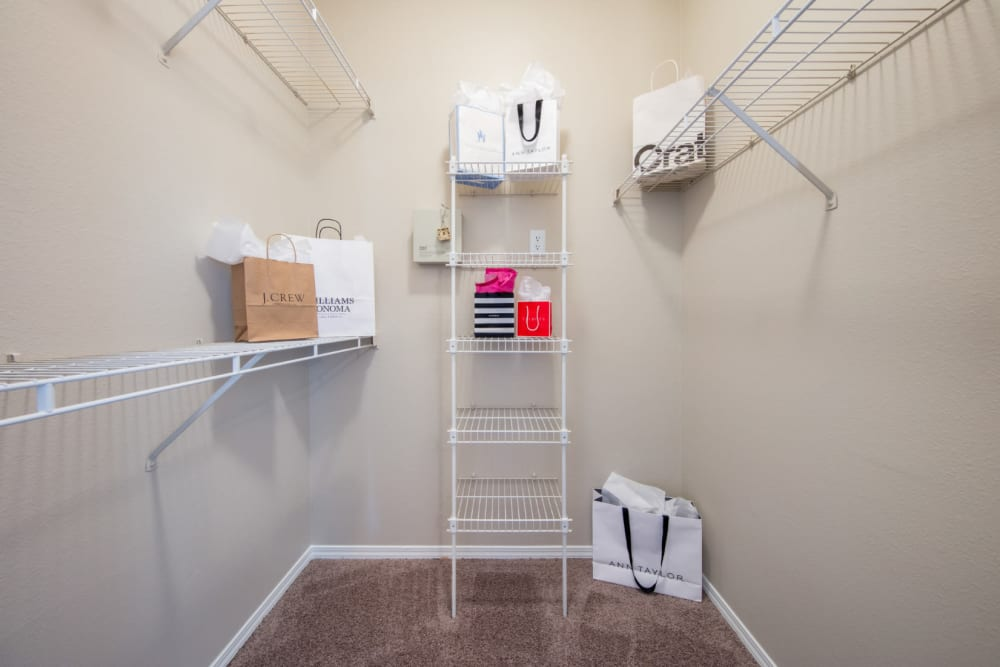 Walk-in closet at Marquis at Treetops in Austin, Texas