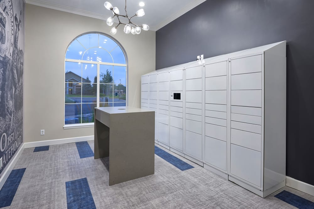 Package Lockers of Gateway Park Apartments from across the pond in Denver, CO