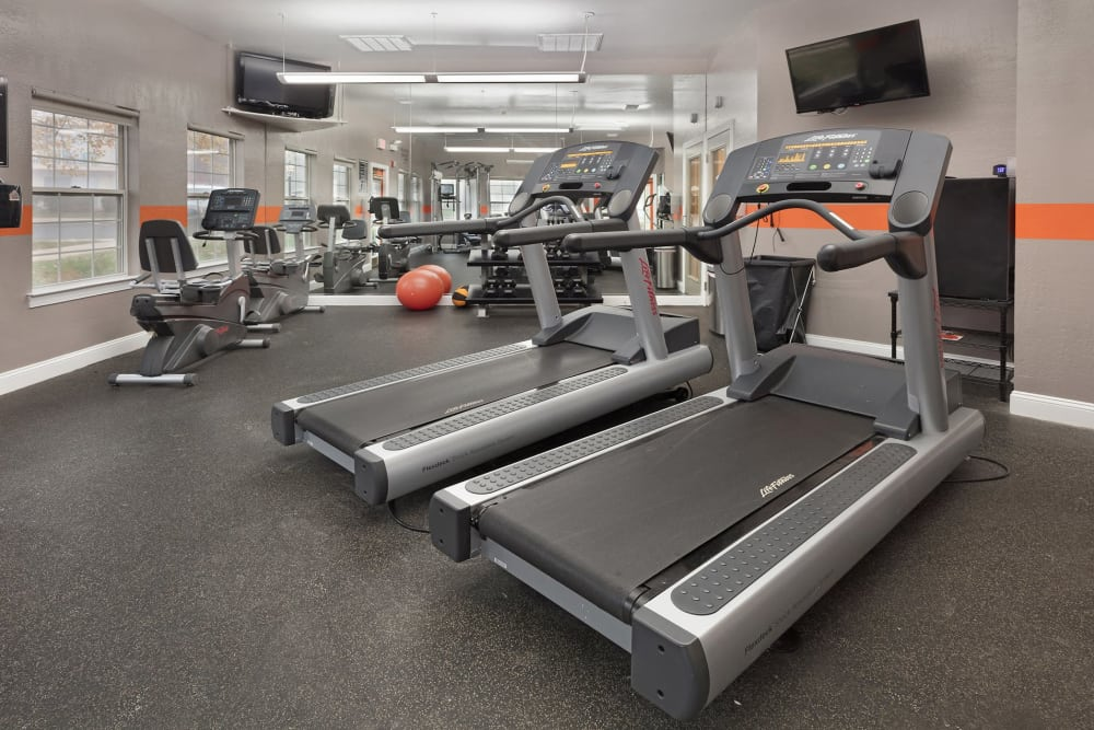 Treadmills in the gym at Kingscrest Apartments in Frederick, Maryland