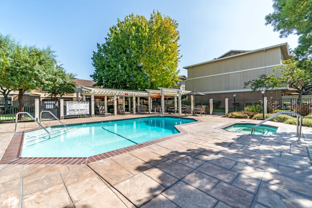 Living at Parkside Commons Apartments includes a large pool