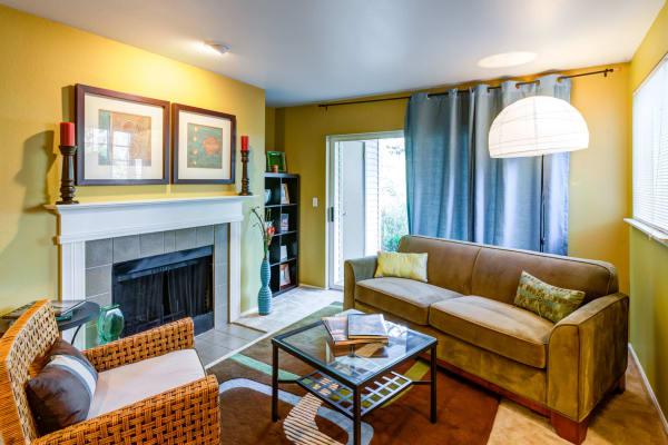 Beautifully arranged living room in model home at Walden Pond Apartments in Everett, WA