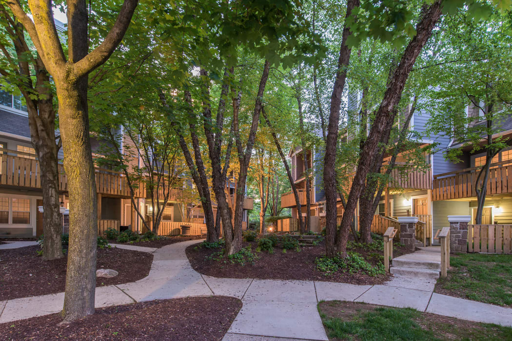 A community courtyard at Timberlawn Crescent in North Bethesda, Maryland.