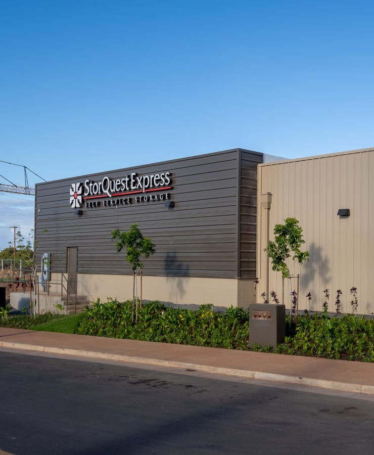 The exterior of the main entrance at StorQuest Express - Self Service Storage in West Sacramento, California