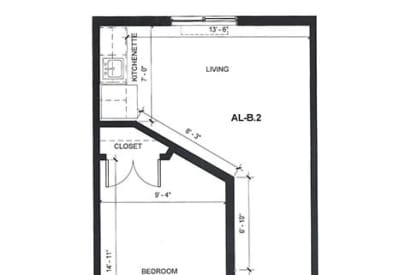 Learn more about our AL One Bedroom assisted living floor plan option at Village at Belmar