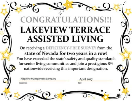 Lakeview Terrace of Boulder City Award