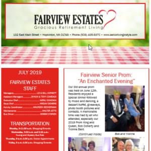 July Fairview Estates Gracious Retirement Living Newsletter