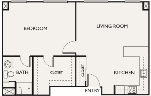 Assisted Living One Bedroom Deluxe at Northgate Plaza in Seattle, Washington