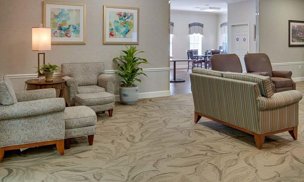 Cozy living room for residents at Chestnut Glen Senior Living in Saint Peters, Missouri