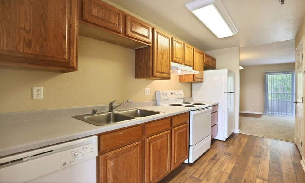 Large kitchen at Belle Creek Apartments in Henderson, Colorado