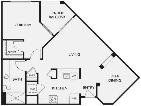 One bedroom plus den floor plan at McDowell Village in Scottsdale, Arizona