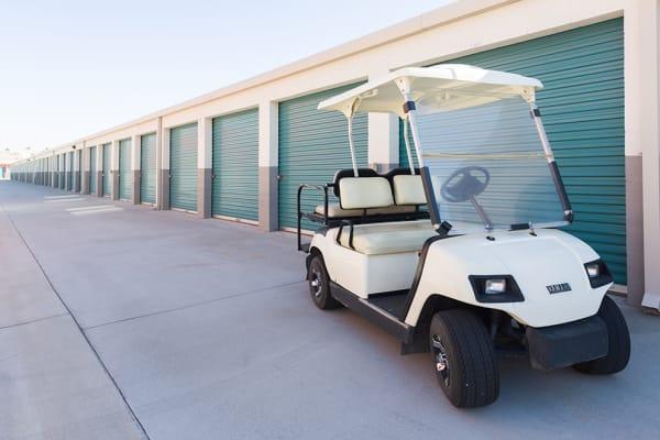 Exterior of outdoor storage units at Chino Self Storage in Chino, California