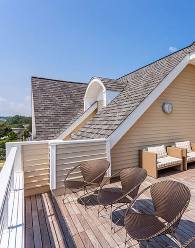 Pinnacle North Apartments's sun deck in Canandaigua, NY