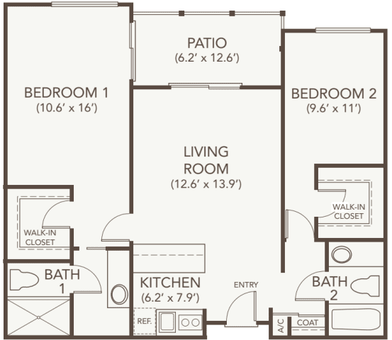 Assisted living two bedroom at Oakmont Gardens in Santa Rosa, California