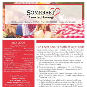 July Somerset Assisted Living Newsletter