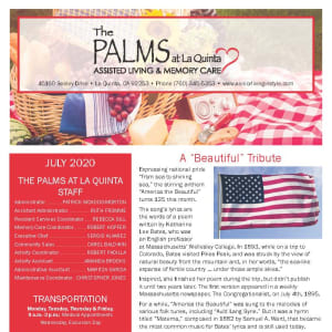 July The Palms at La Quinta Assisted Living and Memory Care Newsletter