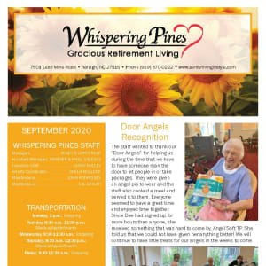September newsletter at Whispering Pines Gracious Retirement Living in Raleigh, North Carolina