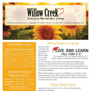 September newsletter at Willow Creek Gracious Retirement Living in Chesapeake, Virginia