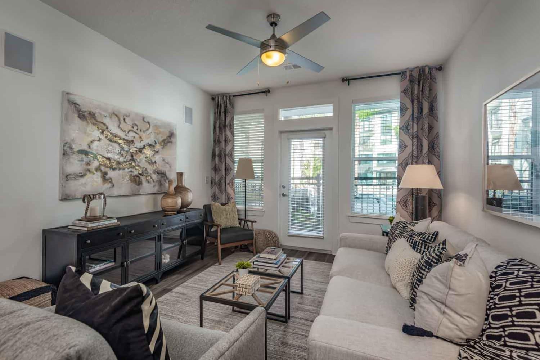 Model living room at The Jaxon in Jacksonville, Florida