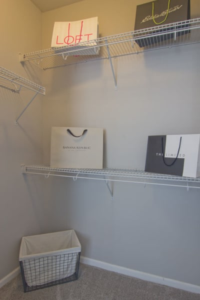 Walk-in closet at our apartments in Elsmere, KY