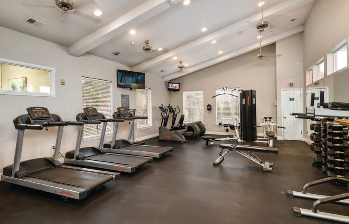 Resident fitness center at Cornerstone Apartments in Independence, Missouri.