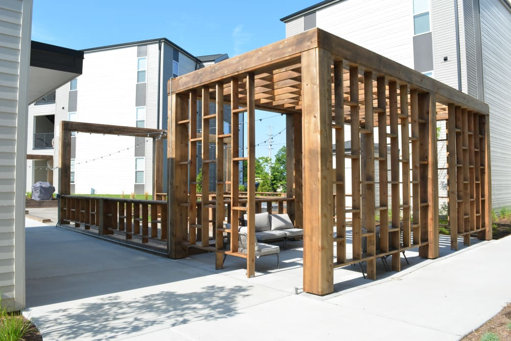 Outdoor lounge with comfortable seating at Pure St. Peters in Saint Peters, Missouri