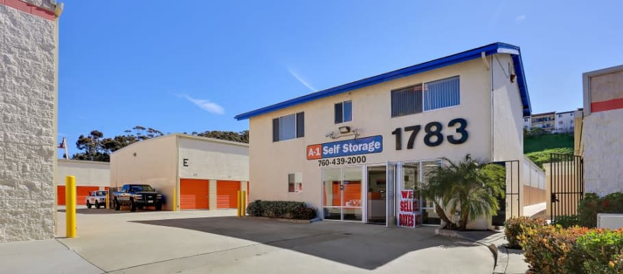 Front sign on our building at A-1 Self Storage in Oceanside, California