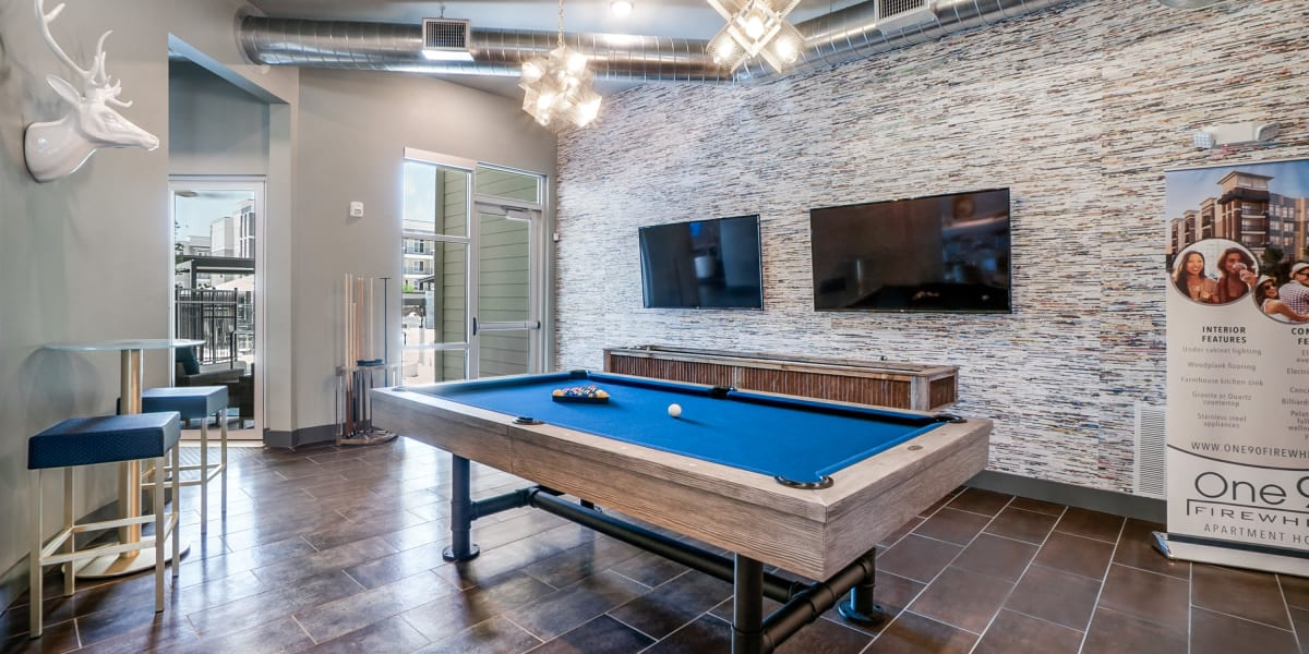 Billiards table at One90 Firewheel in Garland, Texas