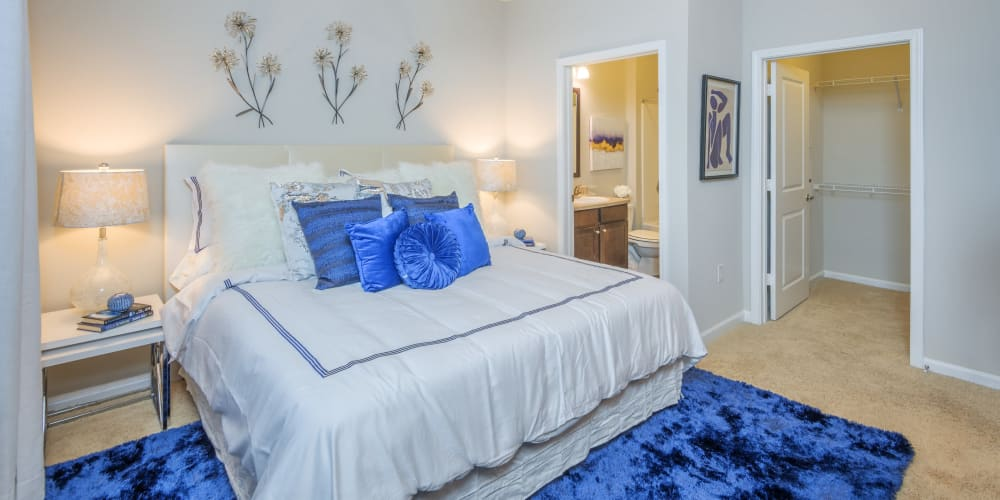 Model bedroom with ceiling fan at Sterling Town Center in Raleigh, North Carolina
