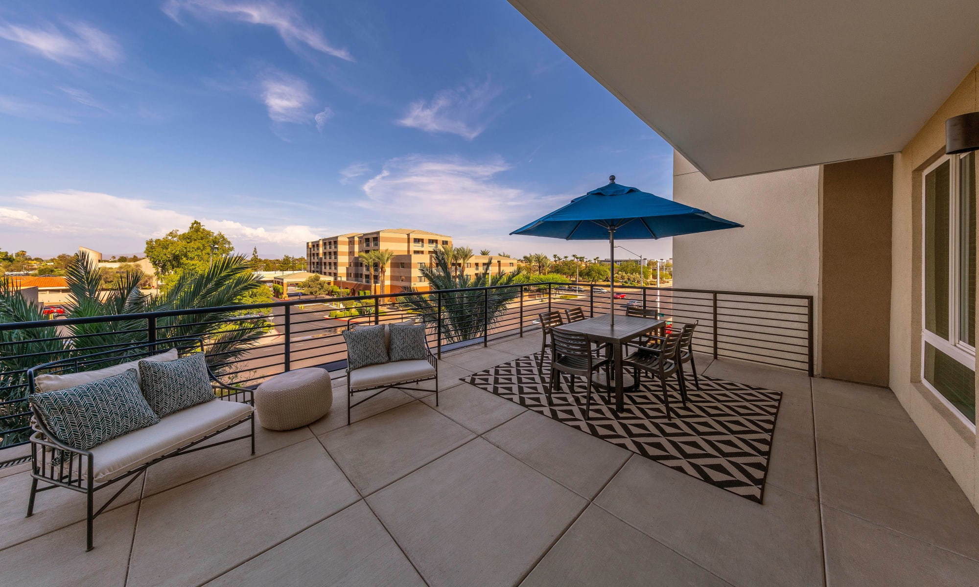 Large balcony overlooking our luxury property at Carter in Scottsdale, Arizona