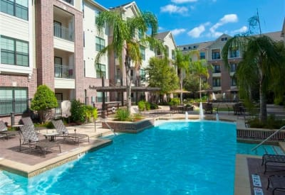 Pool area at Villas at Bunker Hill on a gorgeous day in Houston
