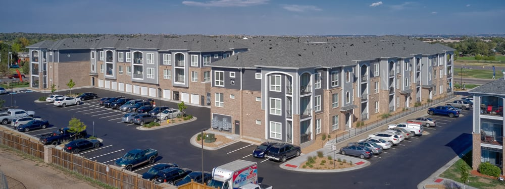 An aerial view of Hawthorne Hill Apartments in Thornton, Colorado