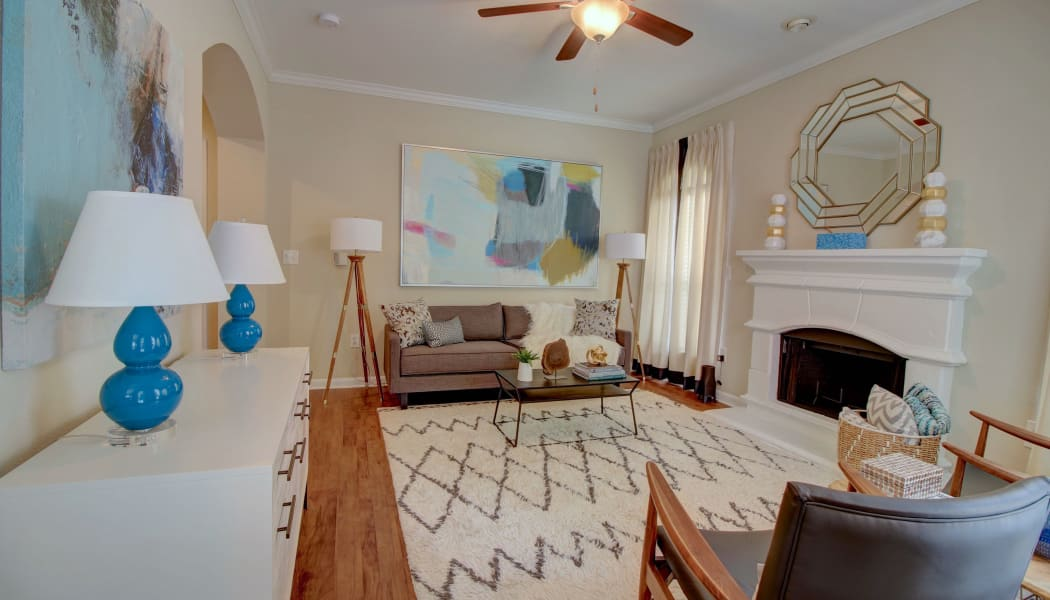Spacious living room at The Park at Research Forest in The Woodlands, TX