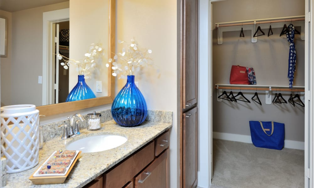 Beautiful walk-in closets at our apartments in Katy