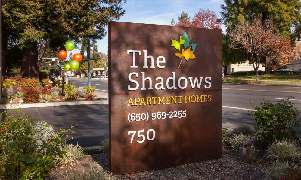 The Shadows Apartments Entrance sign