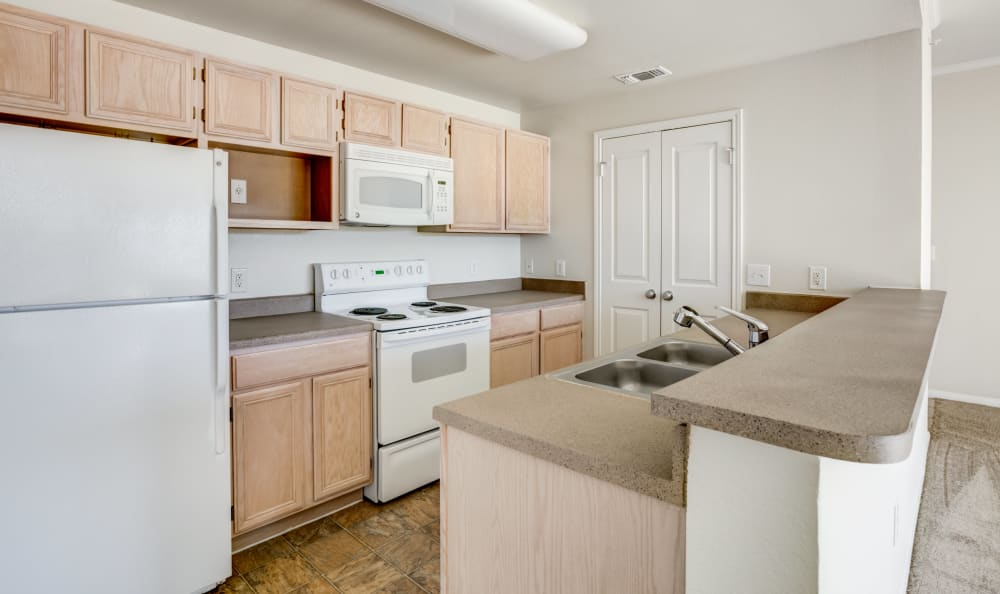 Naturally well lit kitchen at apartments in Austin, Texas