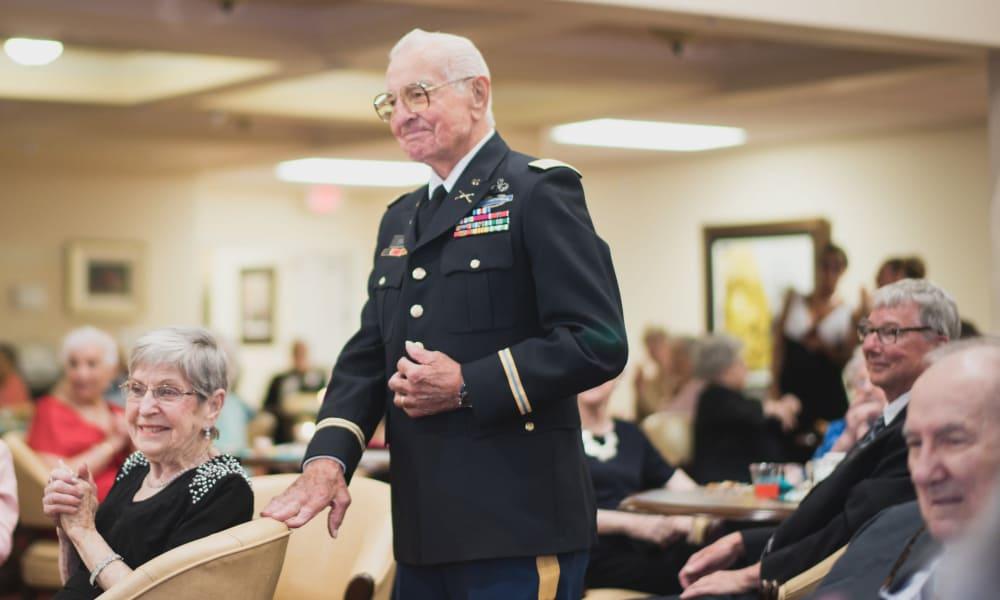 A veteran resident at Cedarview Gracious Retirement Living in Woodstock, Ontario
