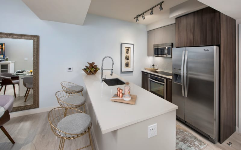 Bright kitchen at The Flats in Doral, Florida