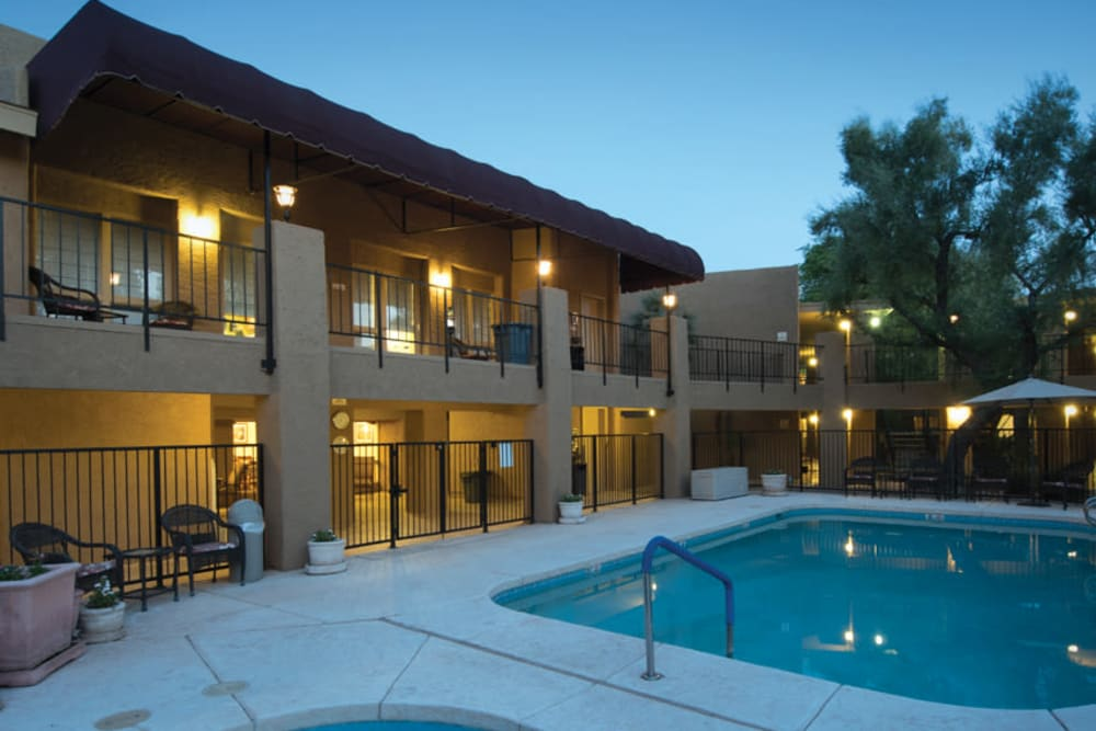 We offer a swimming pool at Scottsdale Village Square, A Pacifica Senior Living Community