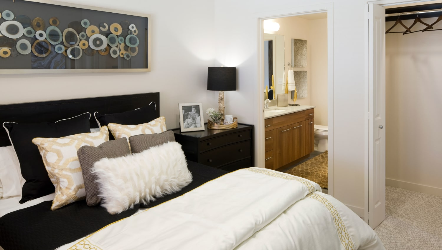 Master bedroom with attached bathroom at Olympus Alameda in Albuquerque, New Mexico