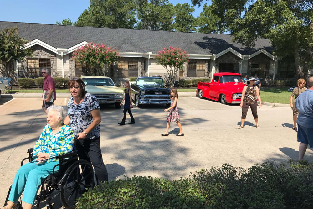 Residents out an about at Parsons House Cypress in Cypress, Texas