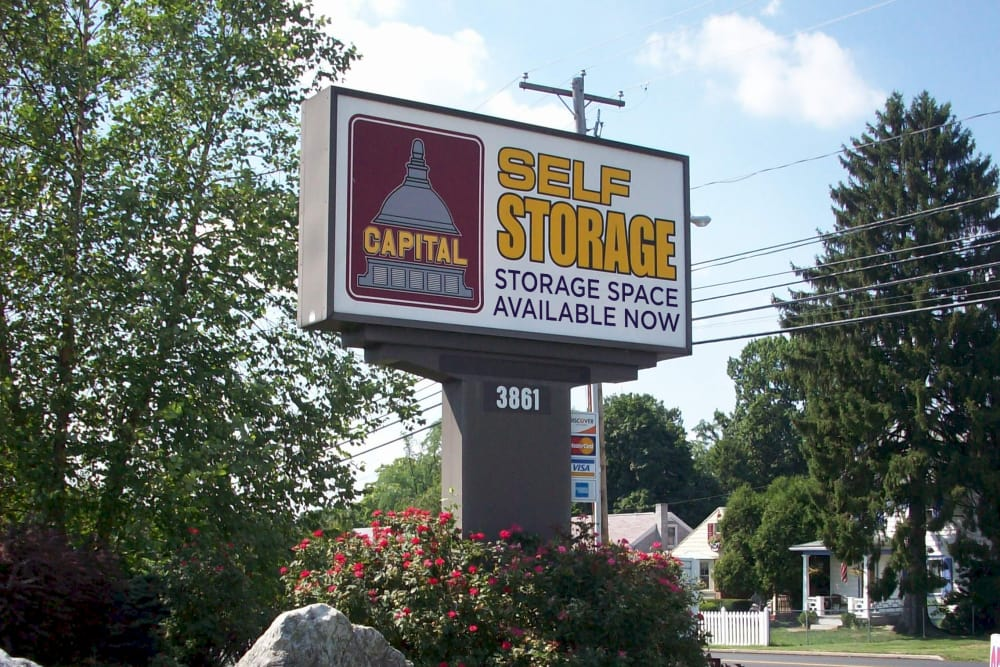 Front sign at Capital Self Storage in Harrisburg, Pennsylvania