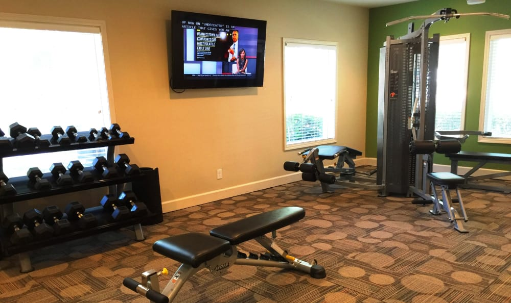 Fitness center with free weights, treadmills, and more at Abbots Glen in Norcross
