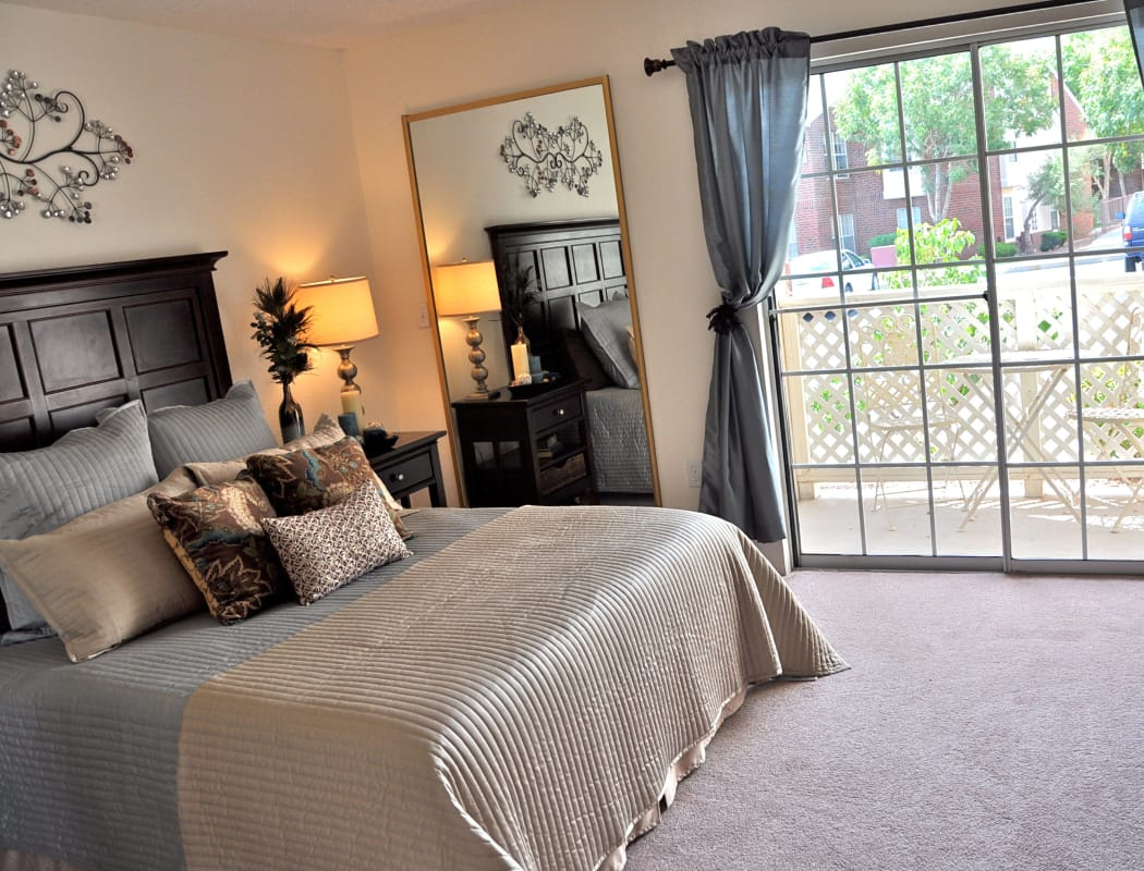 Modern and well-lit bedroom at The Crest Apartments in El Paso, Texas