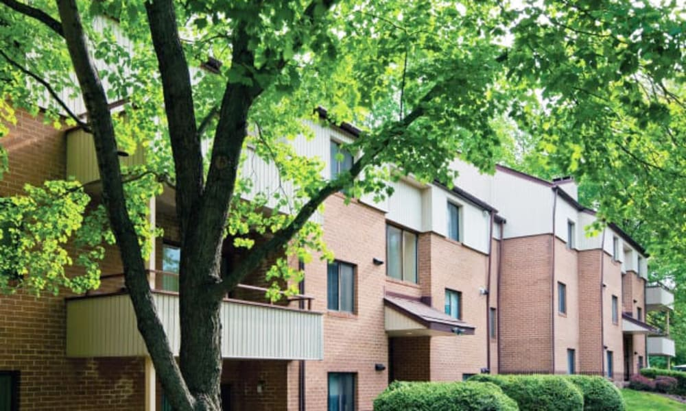 Exterior view of brick resident buildings at The Chimneys of Cradlerock Apartments in Columbia, Maryland