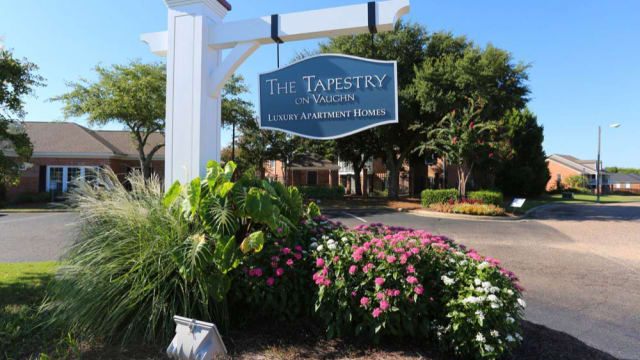 Welcome sign at The Tapestry on Vaughn in Montgomery, Alabama
