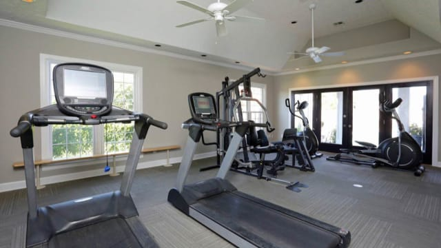 Fitness center at The Tapestry on Vaughn in Montgomery offers treadmills
