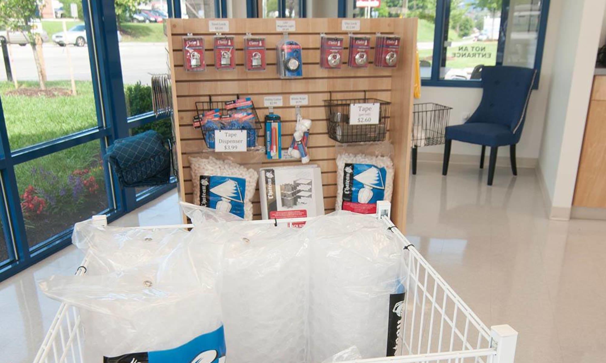 Self storage supplies available at Virginia Varsity Storage in Salem, Virginia