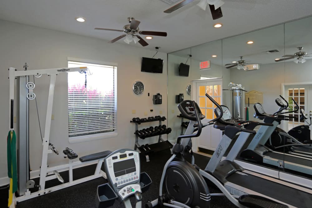 Fitness center at Savannah Place Apartments & Townhomes in Boca Raton, Florida